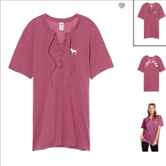 d5f9fea2e6 PINK Campus Short Sleeve Lace Up Tee
