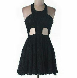 NWT LF Black Lace Halter Cutout Crisscross Dress