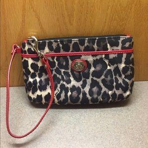 Coach Park Ocelot Leopard Print Wallet w/ red trim