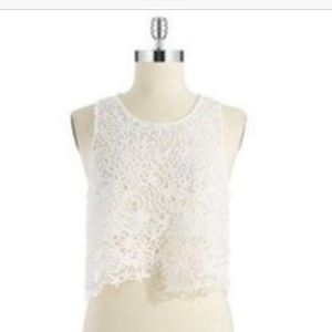 Ark & Co. White Lace Crop Top