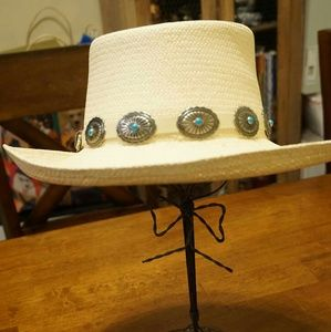 Accessories - Southwestern bohemian turquoise cabachon straw hat