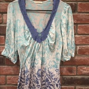 testament Tops - Blue lace neck top