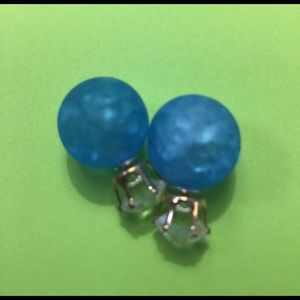 Jewelry - New Blue Crackle Double Ball Stud Earrings