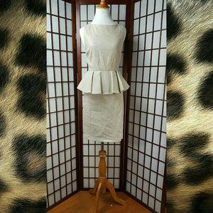 Cream Gold Alice +  Olivia Peplum Dress Size 4