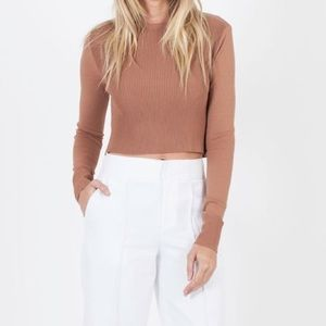 Dark camel cropped ribbed sweater