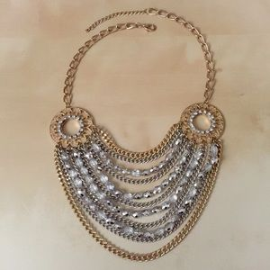 Ashley Stewart Jewelry - Silver & Gold Sparkle Statement Necklace