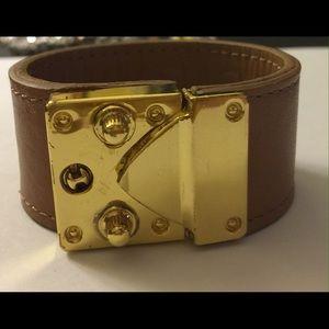 CC Skye Jewelry - CC Skye Brown Leather Cuff Bracelet