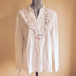Kate Hill Tops - WHITE BUTTON DOWN TOP