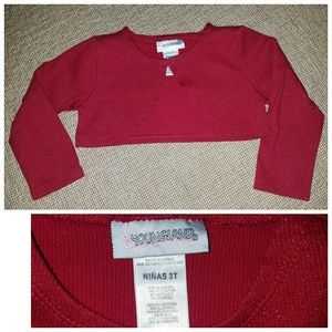 Red sparkly cropped cardigan- 3T