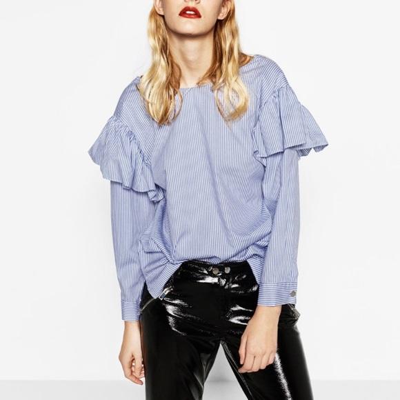 3a64f90d8be5e6 Zara Tops | Striped Blouse With Ruffle Frill Sleeves | Poshmark