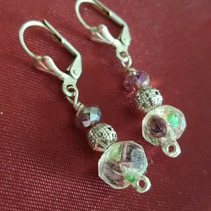 Murano glass crystal dangle earrings floral purple