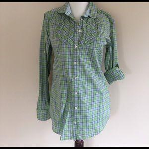 GAP Tops - LN Gap printed spring blouse green purple 6 tall