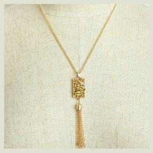 Gold Druzy Stone Pendant & Tassel Necklace