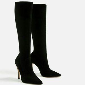 Zara Shoes - NWT ZARA 100% LEATHER  HIGH HEEL KNEE BOOT