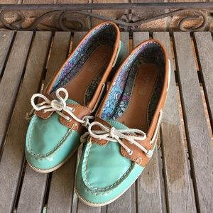 Sperry Top Siders Mint Green Leather W/Tan Trim