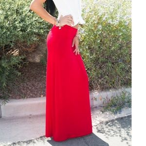 Chic Jersey Red Maxi Skirt