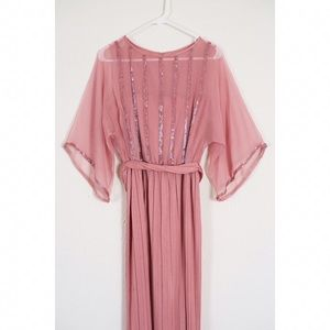Vintage 70s Boho Maxi Beaded Bell Sleeve Dress