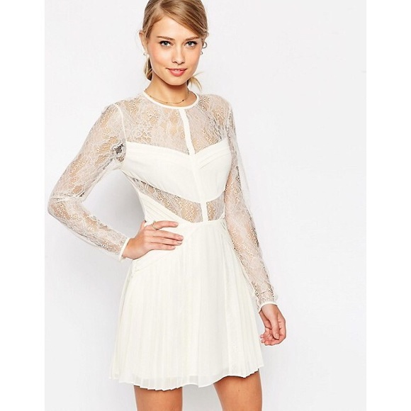 Asos White Pleat And Lace Dress