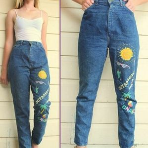 """VINTAGE 80s """"Valley Girl"""" PAINTED High Waist JEANS"""