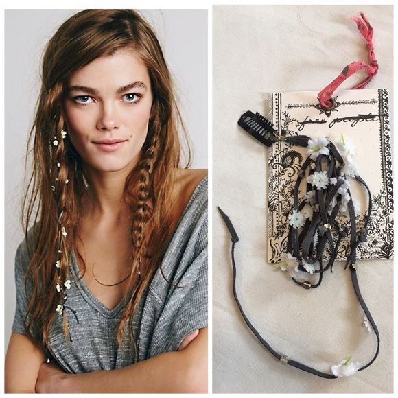 42fe2640 Free People Accessories   Suede Floral Hair Braid In Clip Flower ...
