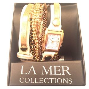 La Mer chain and leather wrap watch. Brand new