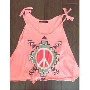 Wildfox Cropped Peace Tank in Pink
