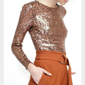 Line & Dot Tops - Line & Dot Bronze Sequin Long Sleeve Bodysuit