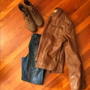Maralyn & Me Jackets & Blazers - Brown leather jacket