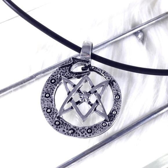Boutique jewelry ouroboros thelemic unicursal hexagram necklace ouroboros thelemic unicursal hexagram necklace mozeypictures Images
