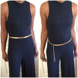 AKIRA Accessories - Must Have Thin Gold Leather Belt