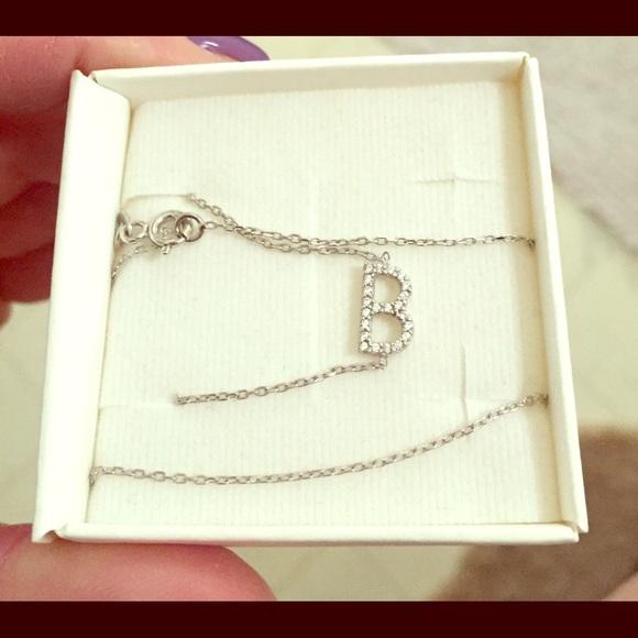 """Jewelry - Silver """"B"""" sideways cubic zirconia necklace"""