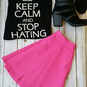 Hot Pink Textured Skater Skirt