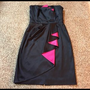 WHBM Strapless Black Evening Dress- with pink