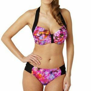 Panache Other - PANACHE Floral Halter Bikini 34E top Large bottom