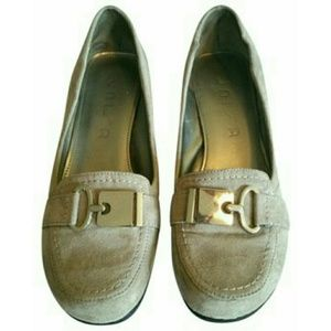 Unisa Shoes - Unisa Taupe Suede Wedge Loafers