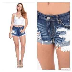 Peach Couture Pants - DESTROYED DENIM LACE POCKET SHORTS