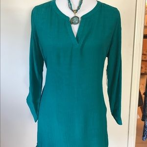 Curvy Couture Tops - Turquoise Cotton Tunic Top shark Hemline NWT