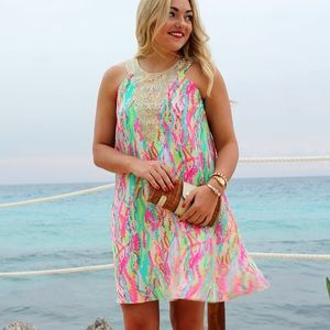 Lilly Pulitzer Printed Dress with Gold Embroidery