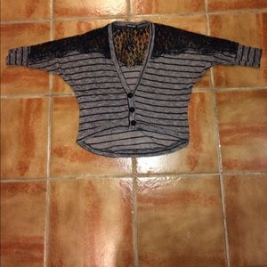 about a girl Sweaters - Striped cardigan w sheer half lace back