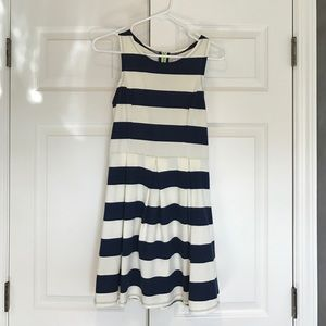 Blue and off-white striped dress