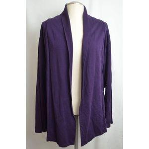 Purple Merona Open Front Cardigan 4X