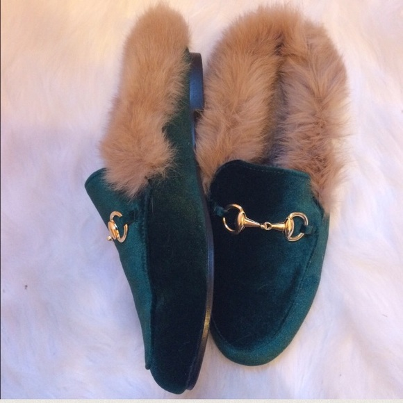db2f9f24f063 Gucci similar Shoes - SALE!! Green Velvet Princeton Slides with Fur