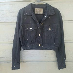 Vintage Jackets & Blazers - Vintage Paris Blues Black Gold Riveted Jacket