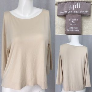J. Jill Tops - ⛲️Sz Medium J. Jill Boat Neck Wide Sleeve Tan Top