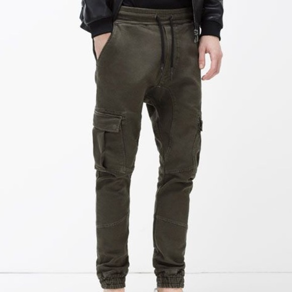 927085c3da Zara man soft denim cargo green joggers