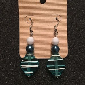 Turquoise & white earrings hand painted beads NEW