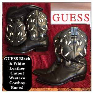 Guess Shoes - GUESS Black & White Leather Cutout Western Boots!