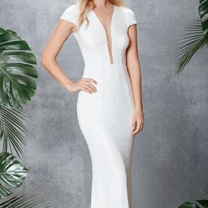 Dress the Population Dresses & Skirts - Slinky Sequin Plunging Neck Gown