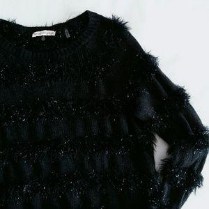 Rebecca Taylor Sweaters - Rebecca Taylor Black Eyelash Stripe Sweater