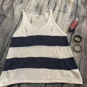 Cecico Tops - Super cute distressed cecico cream & navy tanktop